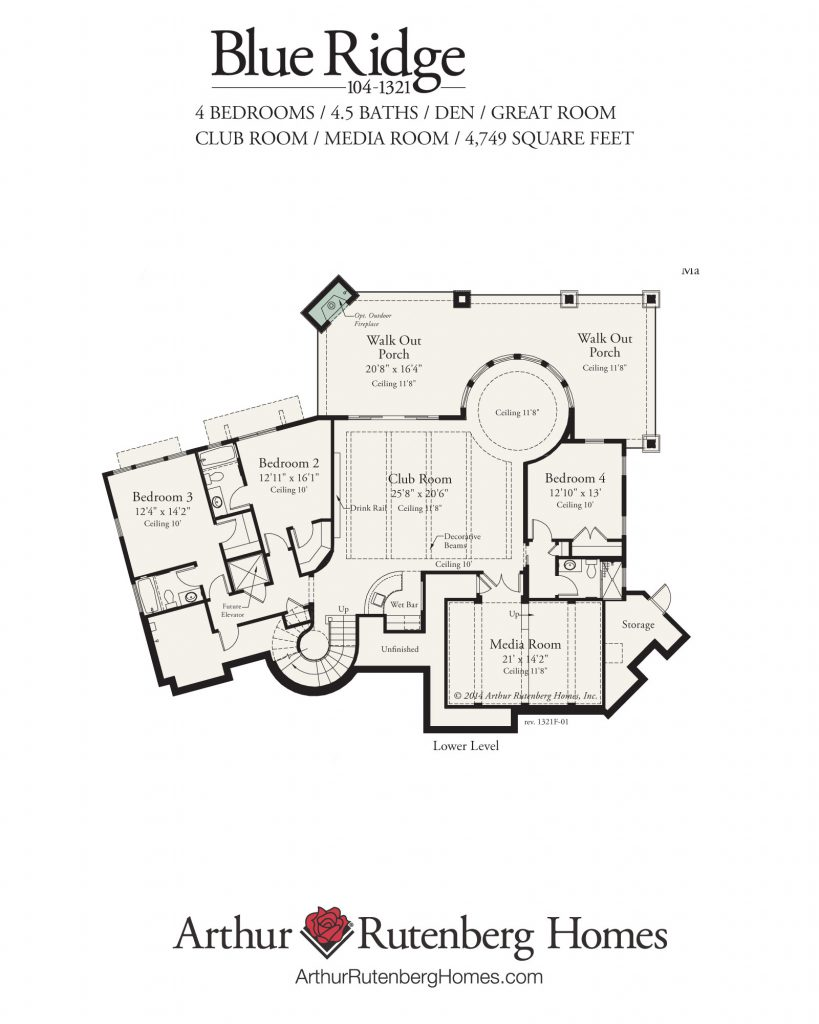 Blue Ridge Home Plan - Lower Level
