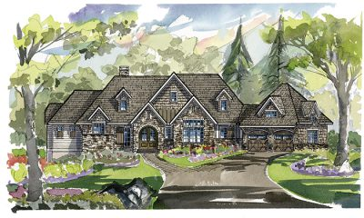 Keystone Home Plan - Mountain Rustic - Elevation A