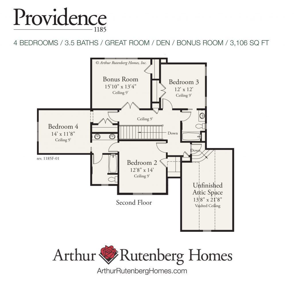 Providence 1185 Home Plan - Second Floor